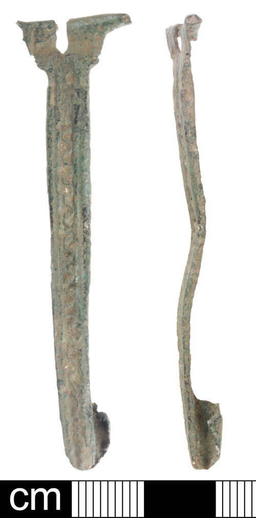 SOM-450611: Iron age or Roman copper alloy strip bow brooch