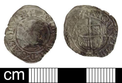 SOM-F2B661: Post-Medieval coin: Halfgroat of Henry VIII