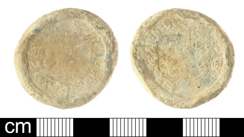 A resized image of Post-Medieval lead weight with City of Bristol Trader's token farthing impression