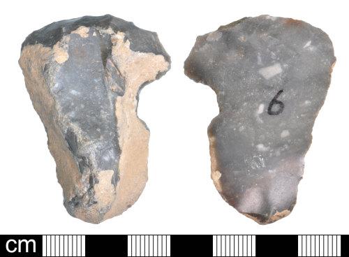 DEV-109C25: Neolithic flint notched end scraper