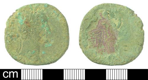 DEV-2472C3: Roman coin: Sestertius of Antoninus Pius