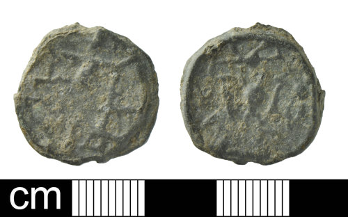 A resized image of Medieval to Post-Medieval Lead token powell type 9