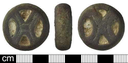 DEV-C5B8CF: Early Medieval to Medieval lead-filled copper alloy pan weight