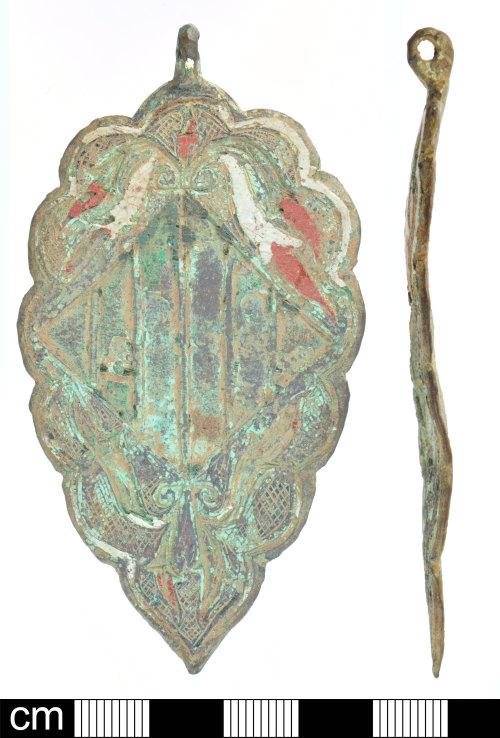 DEV-C6D8F7: Medieval copper alloy horse harness pendant