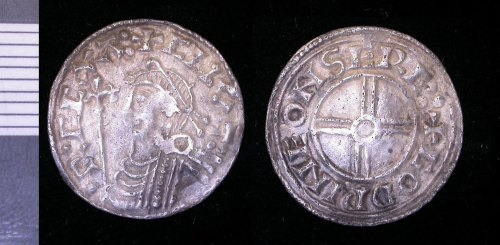 LEIC-077180: Early medieval short cross penny of Cnut
