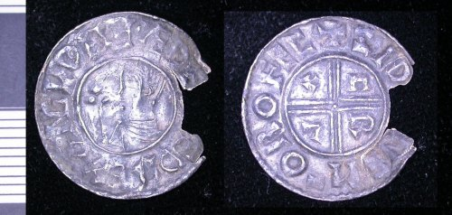 A resized image of early medieval silver penny of Aethelred II.