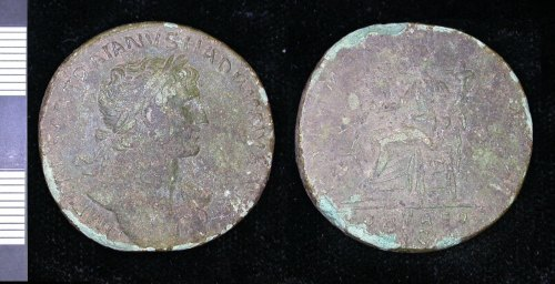 LEIC-2CE476: Roman copper alloy sesterius of Hadrian