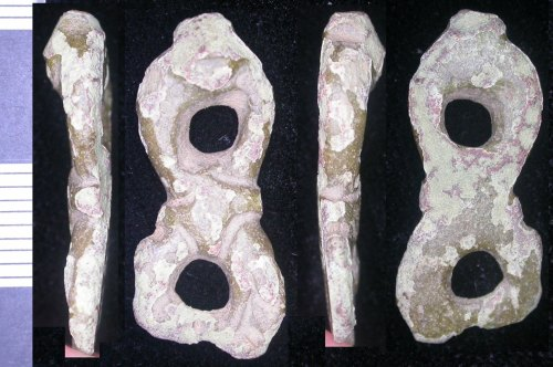 LEIC-3E15B5: Early Medieval copper alloy harness mount fragment