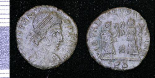 LEIC-523CC4: Roman copper alloy nummus of Constans