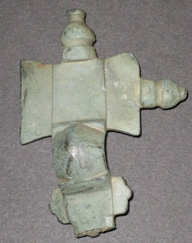 LEIC-5C1F57: Anglo-saxon copper alloy cruciform brooch fragment