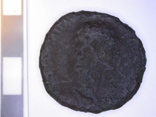LEIC-CF6001: Obverse of dupondius of Domitian (possibly.)