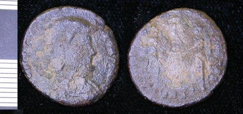 LEIC-E50313: Roman copepr alloy nummus of Magnentius