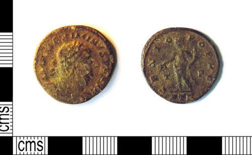 LEIC-54B080: Roman copper alloy nummus of maximus II