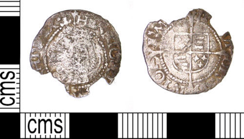 LEIC-692C56: Post Medieval silver halfgroat of Henry VIII