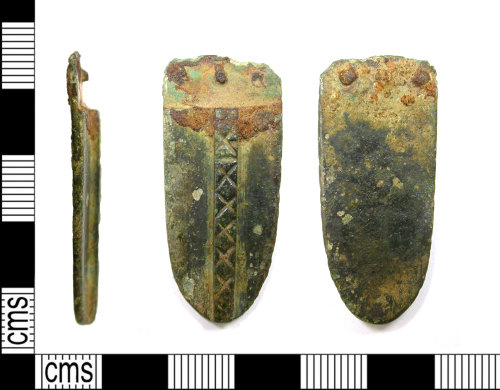 LEIC-07ED69: Early Medieval copper alloy strap end