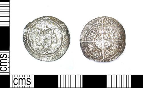 LEIC-1E0D5C: Medieval silver halfgroat of Edward IV