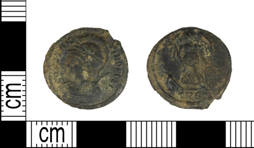 LEIC-2D1595: Roman copper alloy Nummus of the house of Constantine