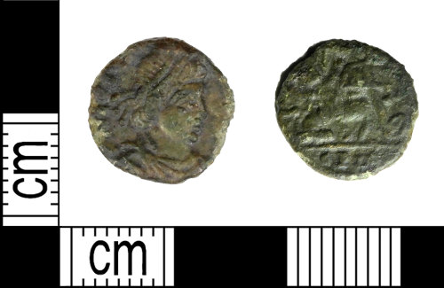 LEIC-2D542B: Roman copper alloy Nummus of the house of Constantine