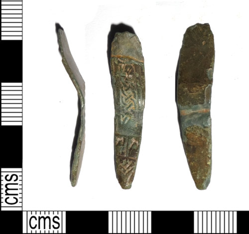 LEIC-4566AB: Early medieval copper alloy strap end