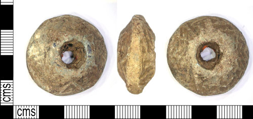 LEIC-47A5D4: Medieval lead alloy spindle whorl