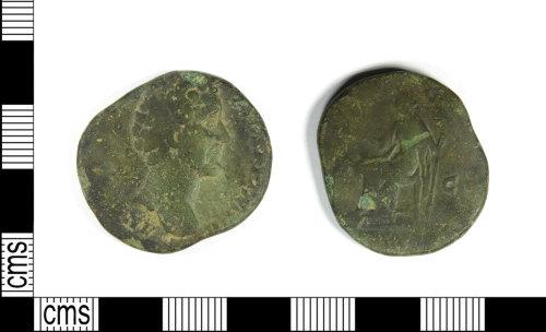LEIC-4CA6DD: Roman copper alloy Sestertius