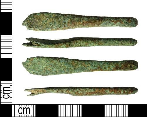 LEIC-933E7E: Early medieval copper alloy strap end