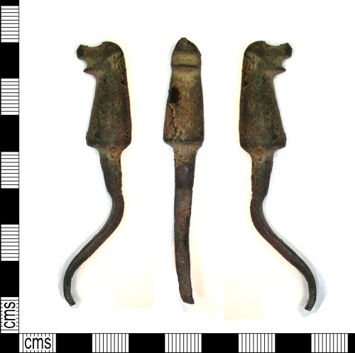 LEIC-C2D7C4: Medieval copper alloy harness hook